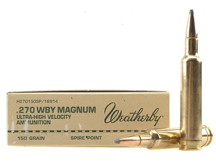 Weatherby Ammunition 270 Weatherby Magnum 150 Grain Hornady Spire Point Box of 20
