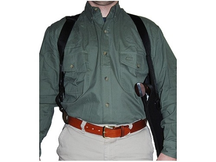 "Uncle Mike's Scoped Vertical Shoulder Holster Right Hand Medium Double-Action Revolver 6"" Barrel Nylon Black"