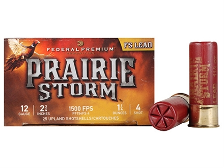 "Federal Premium Prairie Storm Ammunition 12 Gauge 2-3/4"" 1-1/4 oz #4 Plated Shot Shot Box of 25"