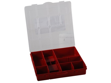 Stack-On Parts Storage Organizer 13-Compartment Red With Clear Lid