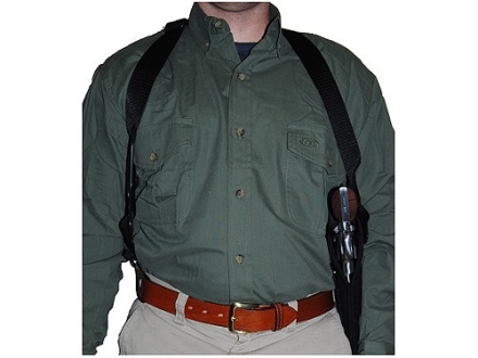 Uncle Mike&#39;s Sidekick Vertical Shoulder Holster Right Hand Medium Double-Action Revolver 4&quot; Barrel Nylon Black