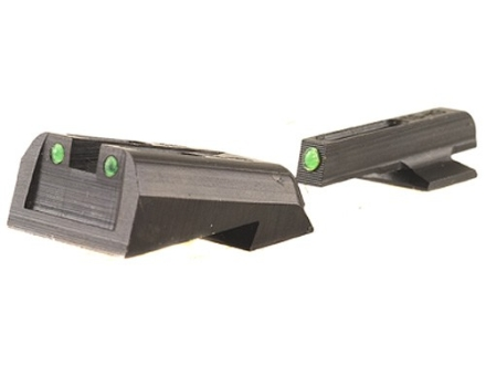 TRUGLO TFO Sight Set 1911 Kimber Front and Rear Sight Cuts Steel Tritium / Fiber Optic Green