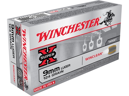 Winchester USA WinClean Ammunition 9mm Luger 124 Grain Brass Enclosed Base Box of 50