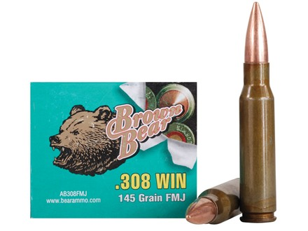 Brown Bear Ammunition 308 Winchester 145 Grain Full Metal Jacket (Bi-Metal) Box of 20