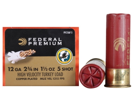 "Federal Premium Mag-Shok Turkey Ammunition 12 Gauge 2-3/4"" 1-1/2 oz #5 Copper Plated Shot High Velocity Box of 10"