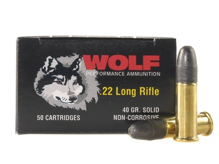 Wolf Match Target Ammunition 22 Long Rifle 40 Grain Lead Round Nose