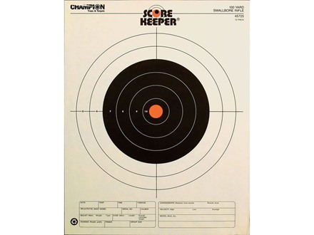 "Champion Score Keeper 100 Yard Small Bore Rifle Target 14"" x 18"" Paper Orange Bull Package of 12"