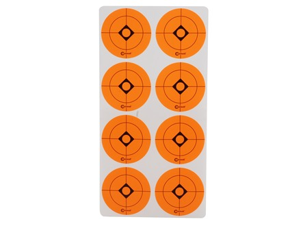 Caldwell Shooting Spots 1-1/2&quot; Pack of 12 Sheets 8 Spots per Sheet Orange