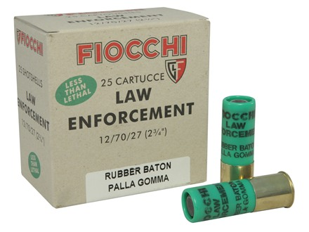 "Fiocchi Less Lethal Ammunition 12 Gauge 2-3/4"" 4.8 Gram Rubber Baton Slug Box of 25"