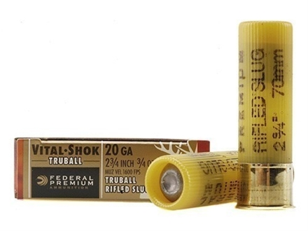 Federal Premium Vital-Shok Ammunition 20 Gauge 2-3/4&quot; 3/4 oz TruBall Hollow Point Rifled Slug Box of 5