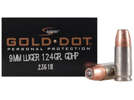 Speer Gold Dot Ammunition 9mm Luger 124 Grain Jacketed Hollow Point Box of 20