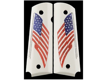 Hogue Grips 1911 Government, Commander Ivory Polymer American Flag Pattern