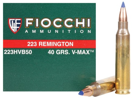 Fiocchi Extrema Ammunition 223 Remington 40 Grain Hornady V-Max Box of 50