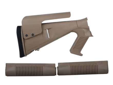 Mesa Tactical Urbino Tactical Stock with Adjustable Cheek Rest & Limbsaver Recoil Pad and Forend Benelli M4 12 Gauge Synthetic Coyote Tan