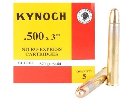 Kynoch Ammunition 500 Nitro Express 3&quot; 570 Grain Woodleigh Weldcore Solid Box of 5