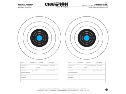 "Champion Re-Stick 50 Ft Pistol Slowfire Self-Adhesive Target 16"" x 16"" Paper Pack of 25"
