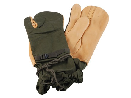 Military Surplus Trigger Finger Mitten Shell Cotton and Leather Medium Olive Drab and Tan