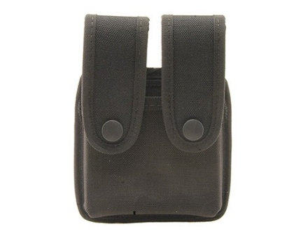 Uncle Mike's Double Magazine Pouch Single Stack Magazine Molded Insert Snap Closure Nylon Black