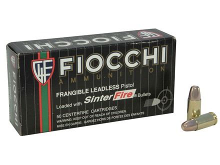 Fiocchi Frangible Ammunition 9mm Luger 100 Grain Sinterfire Box of 50