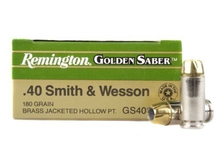 Remington Golden Saber Ammunition 40 S&W 180 Grain Brass Jacketed Hollow Point Box of 25