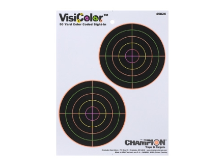 Champion VisiColor 5&quot; Bullseye Target 8.5&quot; x 11&quot; Paper Package of 10