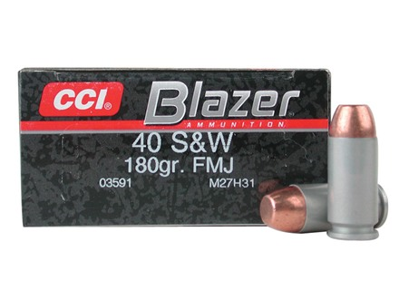 CCI Blazer Ammunition 40 S&amp;W 180 Grain Full Metal Jacket Box of 50