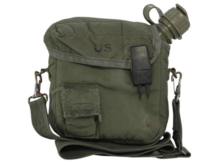Military Surplus 2-Quart Canteen with M1 NBC Cap, with Cover and Carry Strap