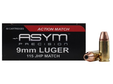 ASYM Precision Action Match Ammunition 9mm Luger 115 Grain Jacketed Hollow Point Box of 50