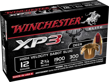 Winchester Supreme Elite Ammunition 12 Gauge 2-3/4&quot; 300 Grain XP3 Sabot Slug Lead-Free Box of 5