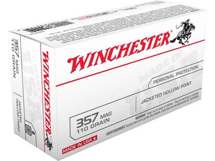 Winchester USA Ammunition 357 Magnum 110 Grain Jacketed Hollow Point Box of 50