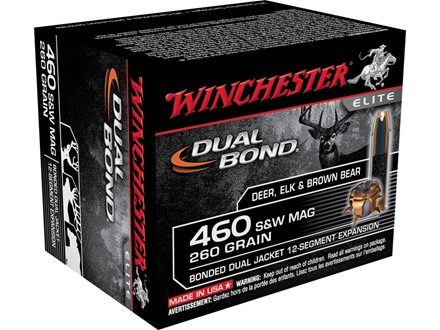 Winchester Supreme Elite Dual Bond Ammunition 460 S&W Magnum 260 Grain Jacketed Hollow Point Box of 20
