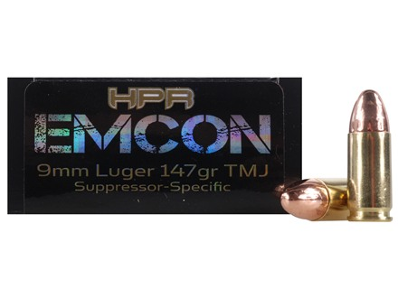 HPR HyperClean EMCON Ammunition 9mm Luger Subsonic 147 Grain Total Metal Jacket Box of 50