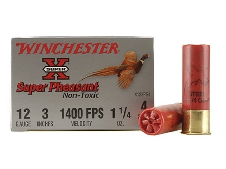 Winchester Super-X Super Pheasant Ammunition 12 Gauge 3&quot; 1-1/4 oz #4 Steel Shot Box of 25
