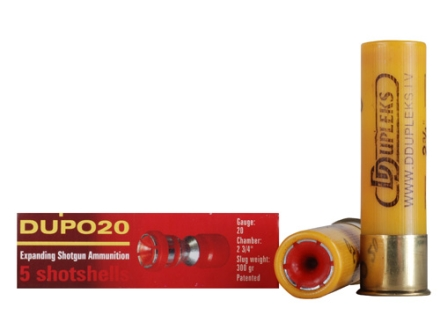 "D Dupleks Dupo20 Ammunition 20 Gauge 2-3/4"" 5/8 oz Expanding Steel Slug Lead-Free Box of 5"