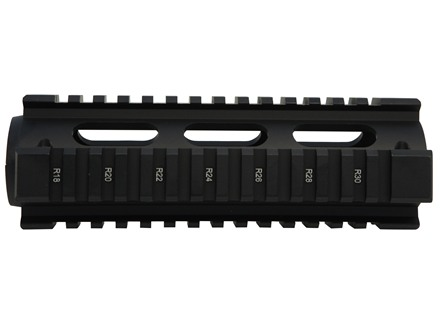 UTG Pro 2-Piece Handguard Quad Rail AR-15 Carbine Length Matte with Black Rail Guards