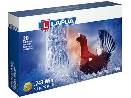Lapua Ammunition 243 Winchester 90 Grain Full Metal Jacket Box of 20