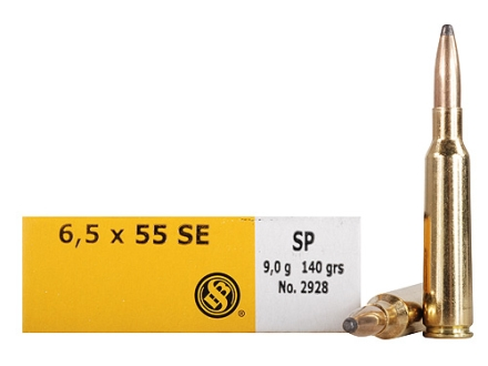 Sellier &amp; Bellot Ammunition 6.5x55mm Swedish Mauser 140 Grain Semi-Jacketed Soft Point Box of 20