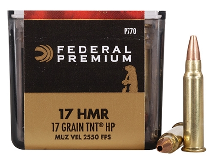Federal Premium V-Shok Ammunition 17 Hornady Magnum Rimfire (HMR) 17 Grain Speer TNT Jacketed Hollow Point Box of 500 (10 Boxes of 50)