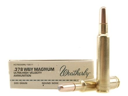Weatherby Ammunition 378 Weatherby Magnum 300 Grain Hornady Round Nose Expanding Box of 20