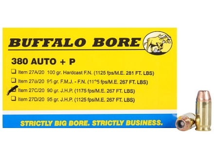 Buffalo Bore Ammunition 380 ACP +P 90 Grain Jacketed Hollow Point Box of 20
