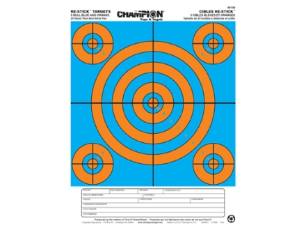 Champion Re-Stick 5 Bull Blue and Orange Self-Adhesive Target 8.5&quot; x 11&quot; Paper Pack of 25