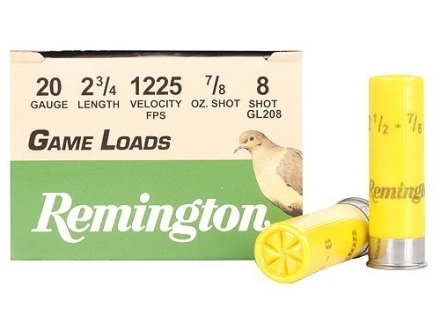 Remington Game Load Ammunition 20 Gauge 2-3/4&quot; 7/8 oz #8 Shot Box of 25