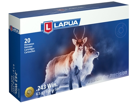 Lapua Ammunition 243 Winchester 100 Grain Soft Point Box of 20