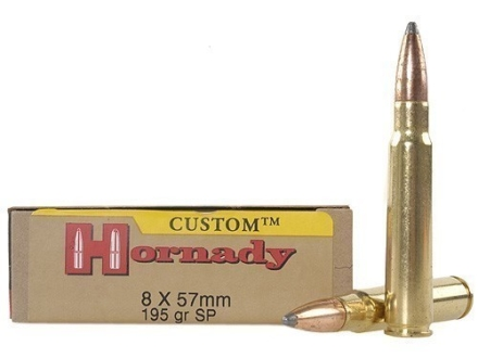 Hornady Custom Ammunition 8x57mm Mauser (8mm Mauser) 195 Grain Interlock Spire Point Box of 20