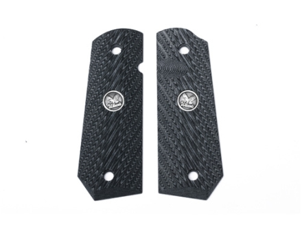 Wilson Combat Grips 1911 Government, Commander with Bobtail Mainspring Housing Diagonal Checkered G10 Black and Gray