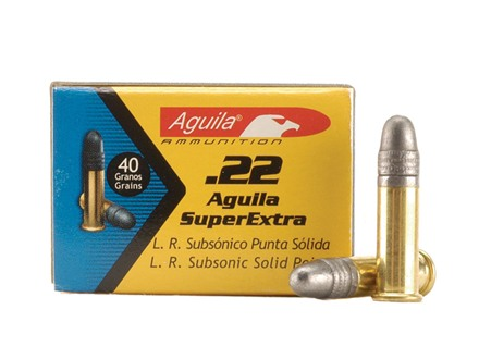 Aguila SuperExtra Ammunition 22 Long Rifle Subsonic 40 Grain Lead Round Nose Box of 500 (10 Boxes of 50)