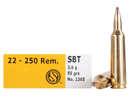 Sellier &amp; Bellot Ammunition 22-250 Remington 55 Grain Sierra GameKing Spitzer Boat Tail Box of 20