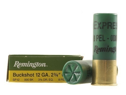 "Remington Express Ammunition 12 Gauge 2-3/4"" 000 Buckshot 8 Pellets Box of 5"