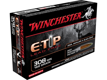 Winchester Supreme Ammunition 308 Winchester 168 Grain E-Tip Lead Free Box of 20