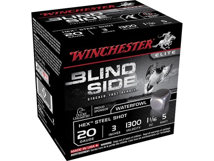 Winchester Blind Side Ammunition 20 Gauge 3&quot; 1-1/16 oz #5 Non-Toxic Steel Shot